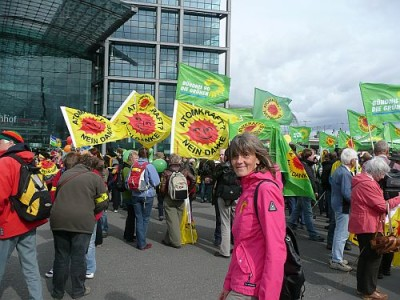 Marita Brormann bei einer Demo gegen Atomkraft
