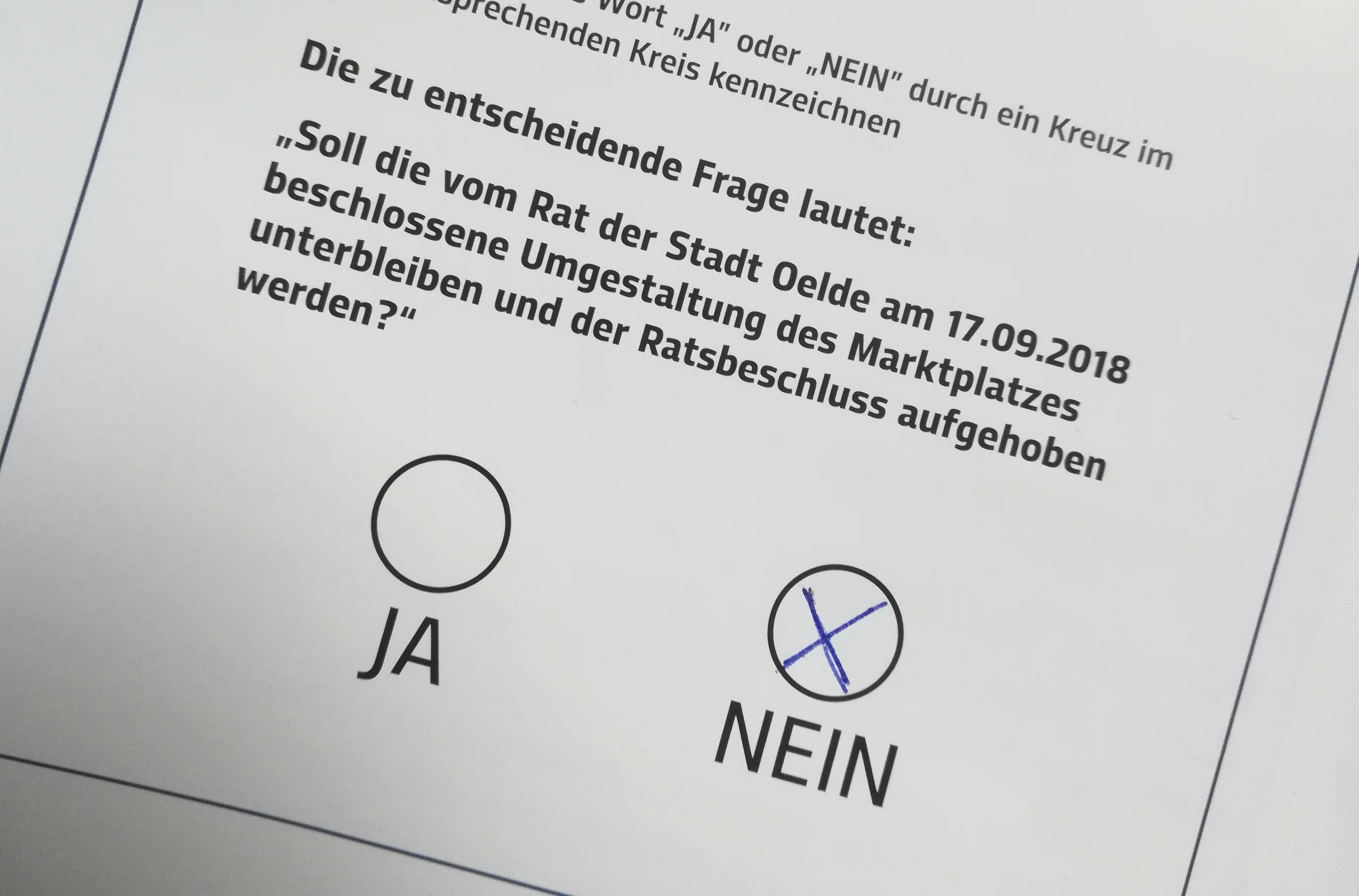 """""""Ja"""" zum Marktplatzumbau heißt """"Nein"""" wählen!"""