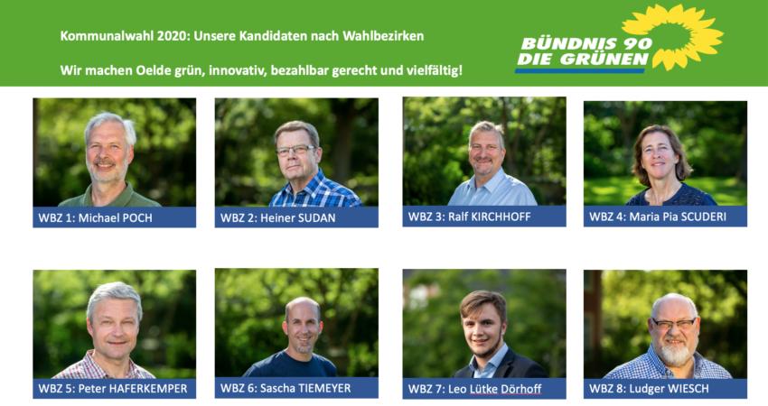 Kandidaten der Wahlbezirke 1 bis 8