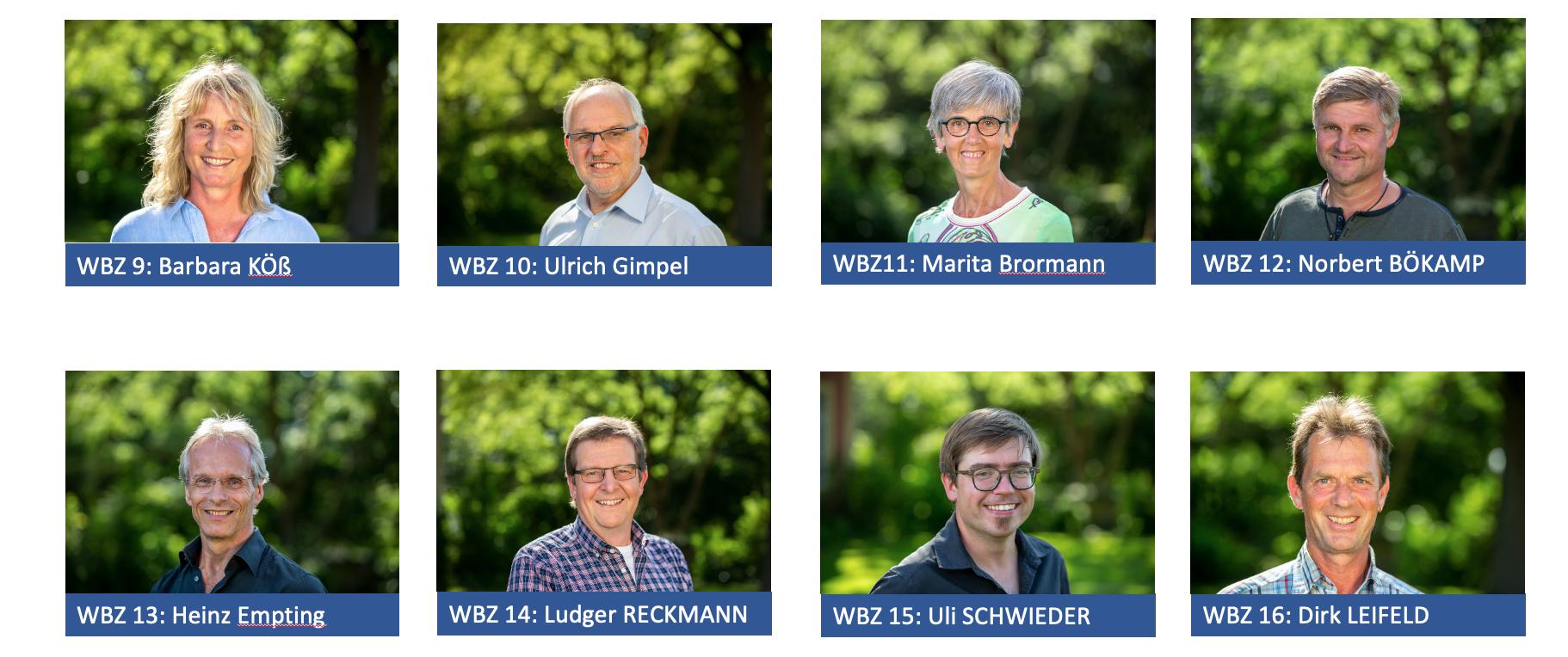 Kandidaten der Wahlbezirke 9 bis 16