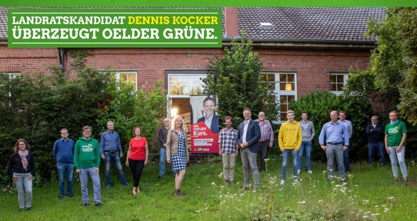 Der Landratskandidat von SPD, Grünen und Linken, Dennis Kocker (9. v. l.), stellte sich dem Oelder Ortsverband von Bündnis 90/Die Grünen in der Gaststätte Waldeslust vor.