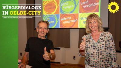 Nachhaltigkeitsexperte Uli Ahlke und Bürgermeisterkandidatin Barbara Köß