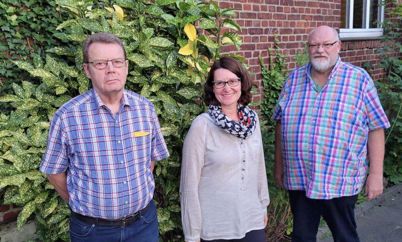 Foto: Der neue Vorstand des Ortsverbandes v.l. Ludger Wiesch, Nicole Haferkemper-Selau, Heiner Sudan
