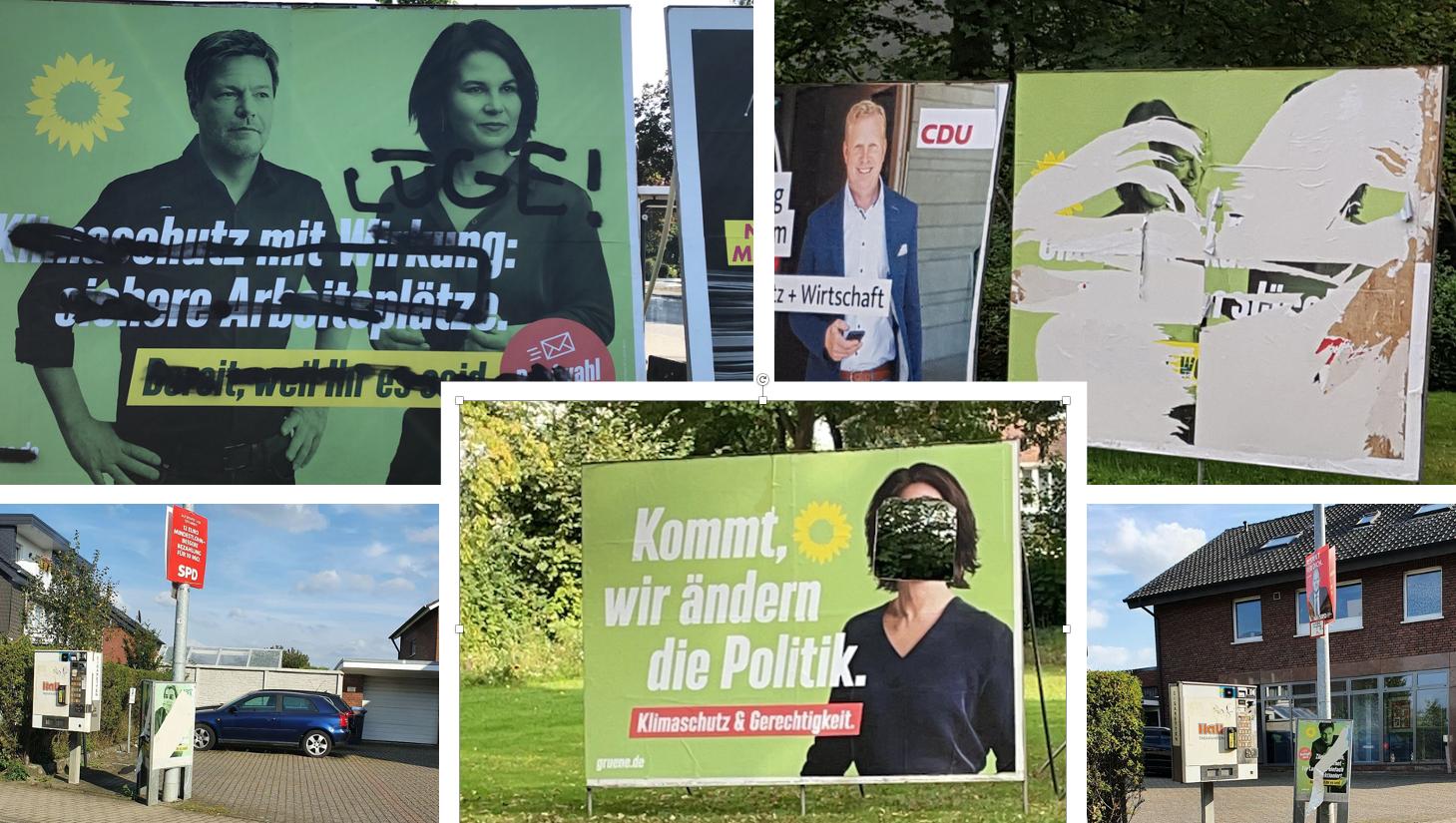 Zerstörte Wahlplakate in Oelde